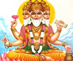 Mythological image of Brahma.  Depicted with four heads, each continually reciting one of the four vedas.  Even his mythological image seems much more busy at work like Saturn, when compared to Vishnu and Shiva who are both mythologically seen lounging on a coiled serpent, or sitting in blissful samadhi.